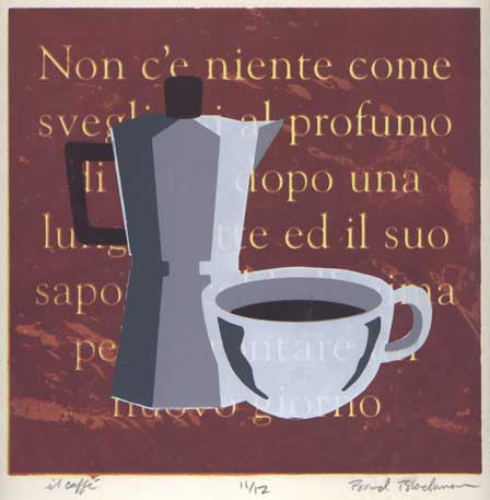"Image: Silkscreen print ""Il Caffé"" by Brad Blackman, of an Italian stovetop coffeemaker"