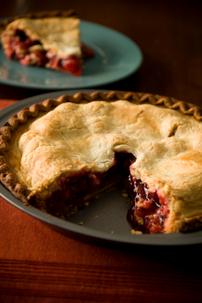 Cherry pie with a slice removed