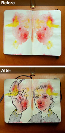 Santos makes an inkblot in his sketchbook, then draws over the blot, creating something new